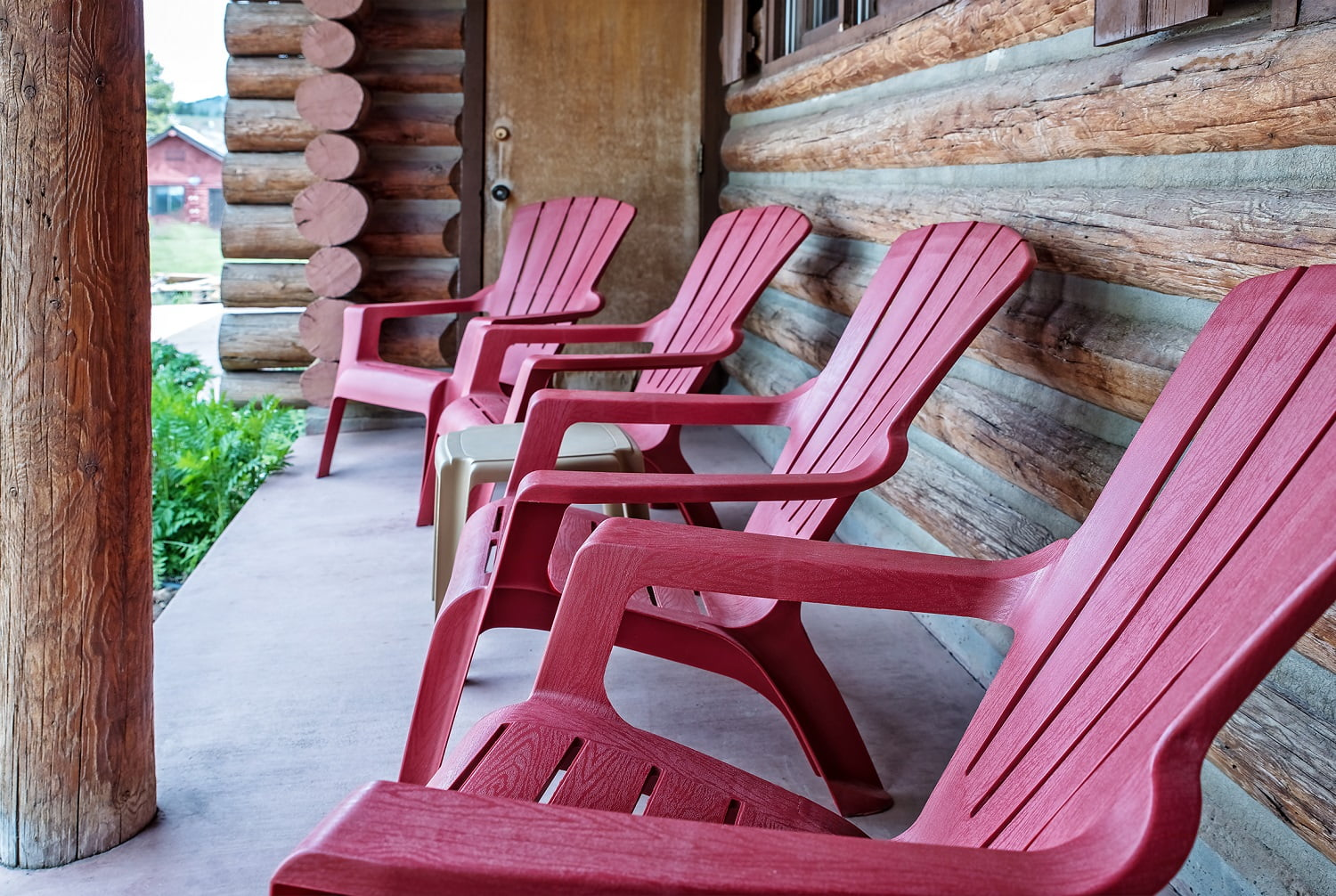 cabin porch with chairs