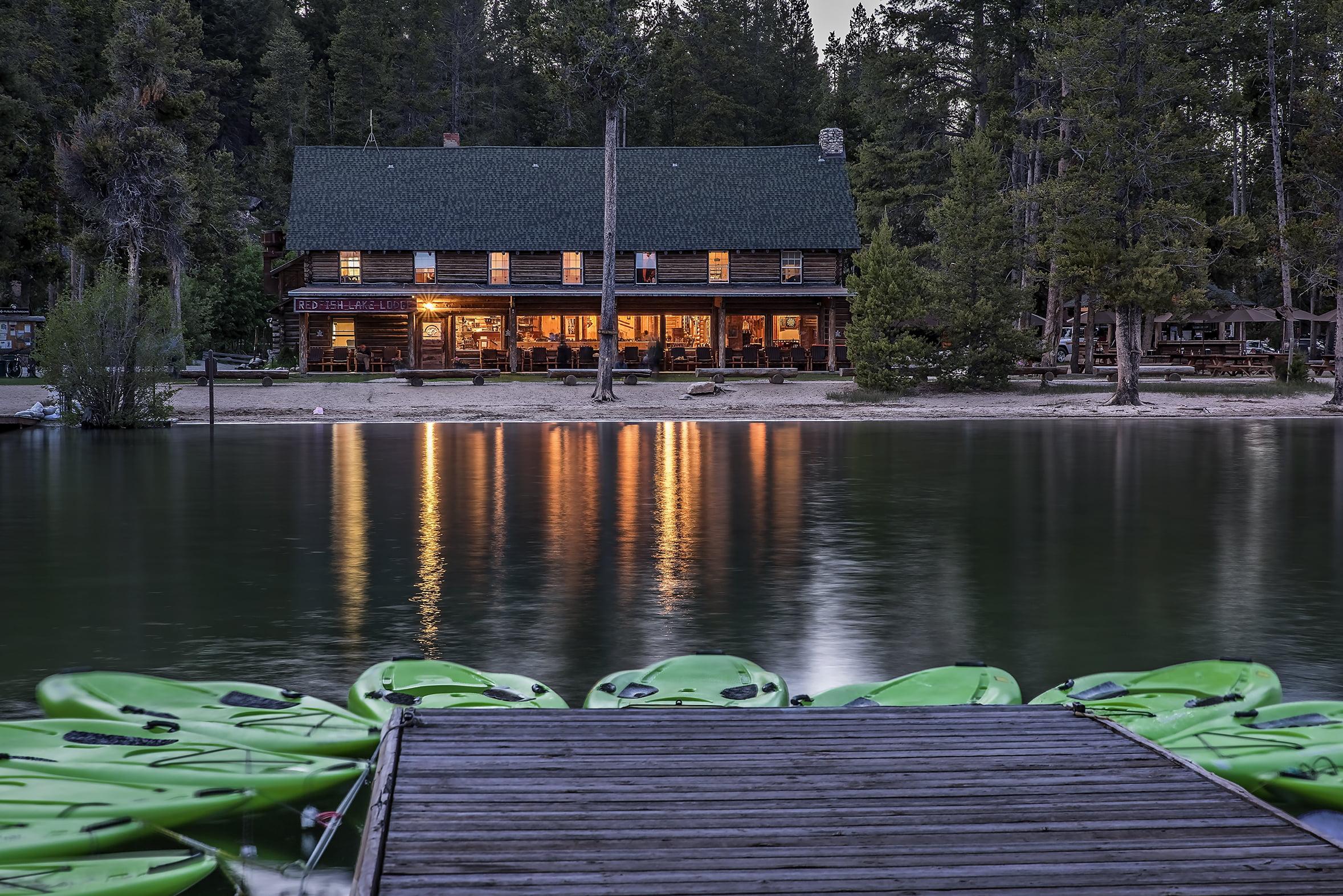 lake view and kayaks