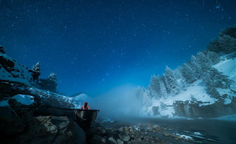 Hot Spring and Night Sky